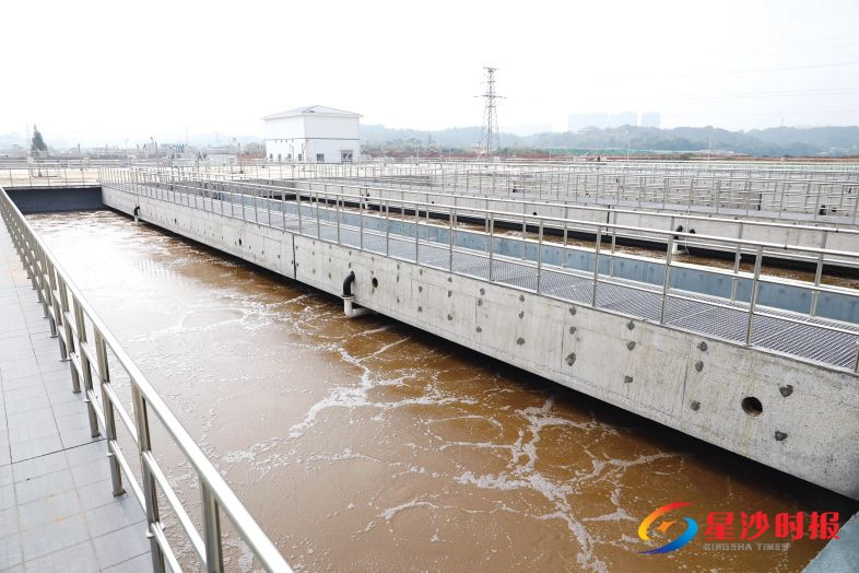 城西污水處理廠位于長沙縣湘龍街道高沙村,規劃污水處理總規模為12萬噸/天,其中一期處理污水6萬噸/天。圖為改良型AAO池。章帝 攝