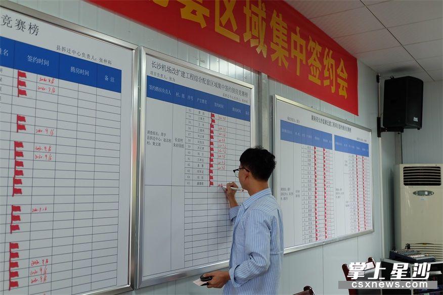 工作人员在签约后登记进度情况。均为 李丹 摄